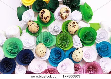 Easter composition with festive flowers decoration and traditional treats : easter mini eggs in bird nest. with copy space