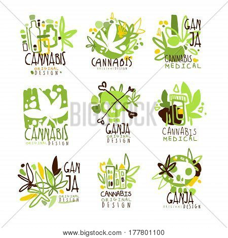 Medical Ganja Colorful Graphic Design Template Logo Series, Hand Drawn Vector Stencils. Artistic Promo Posters With Funky Font And Fun Design Elements.
