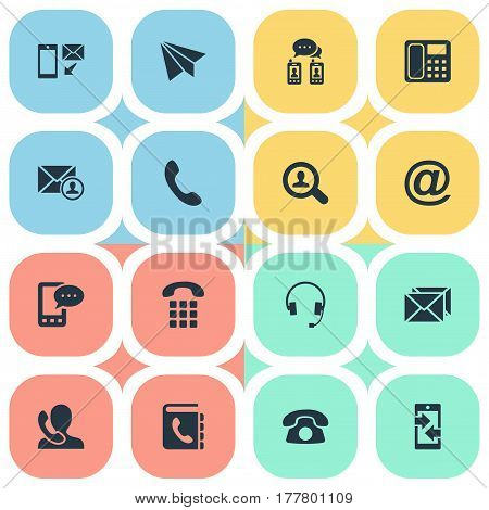 Vector Illustration Set Of Simple Contact Icons. Elements New-Come Letter, Intercommunication, Job Research And Other Synonyms Arrows, Envelope And E-Mail.