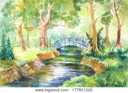 Forest landscape in watercolor. A bridge across the river. Walk on the nature. Sunny day. Picture sketch illustration for background wallpaper paper or cover. Travel travel rest picnic in the forest. Yoga meditation Feng Shui print or poster.