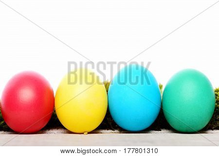 Easter Colorful Eggs Painted In Bright Colors Isolated On White