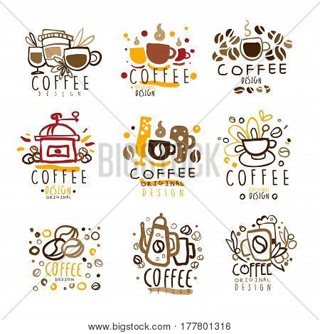Coffee Original Colorful Graphic Design Template Logo Series, Hand Drawn Vector Stencils. Artistic Promo Posters With Funky Font And Fun Design Elements.