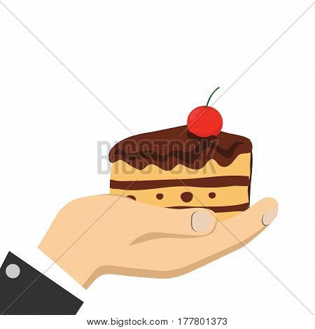 Cartoon hands holding cake in flat design on blue background