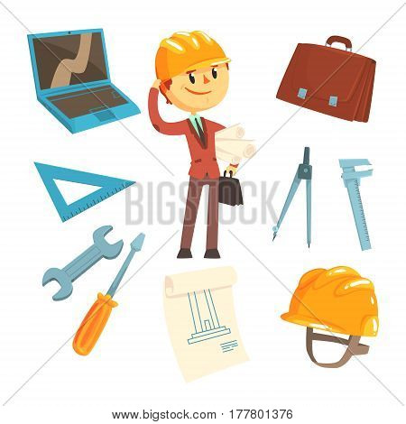 Professional Builder And Architect And His Tools, Man And His Profession Attributes Set Of Isolated Cartoon Objects. Engineer And Construction Related Collection Of Isolated Items.