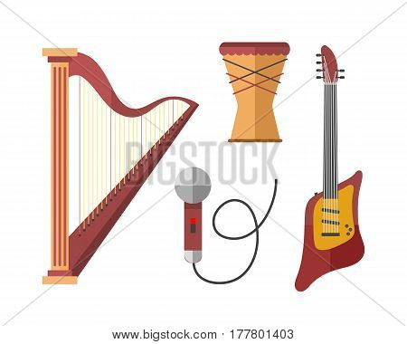 Stringed musical instruments classical harp orchestra art sound tool and acoustic symphony stringed fiddle wooden equipment vector illustration. Vintage performance classic folk rock artistic sign.