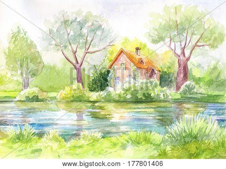 watercolor landscape house on the river forest lawn. Pastel painting drawing artwork. Bright picture. suuny day. Illustration suit for cover wallpaper print poster. Background. Village hotel on lake.