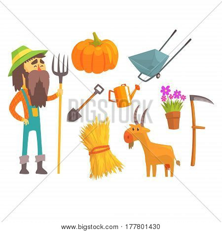 Professional Farmer And His Tools, Man And His Profession Attributes Set Of Isolated Cartoon Objects. Farming And Manual Labor Related Collection Of Isolated Items.