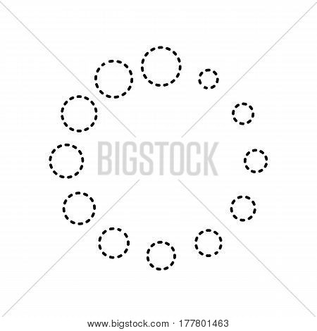 Circular loading sign. Vector. Black dashed icon on white background. Isolated.