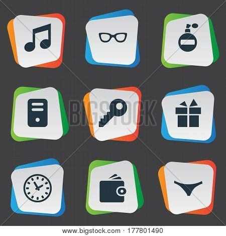 Vector Illustration Set Of Simple Instrument Icons. Elements Time, Password, Music And Other Synonyms Giveaways, Device And Sunglasses.