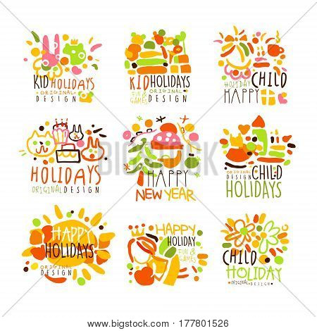 Happy Kid Holiday Colorful Graphic Design Template Logo Series, Hand Drawn Vector Stencils. Artistic Promo Posters With Funky Font And Fun Design Elements.