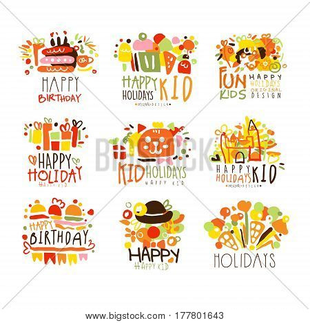 Happy Child Holiday Colorful Graphic Design Template Logo Series, Hand Drawn Vector Stencils. Artistic Promo Posters With Funky Font And Fun Design Elements.