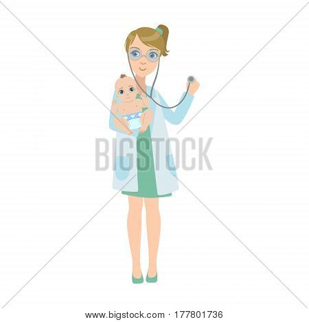 Pediatrician Checking With Stethoscope Lungs Of a Baby, Part Of Kids Taking Health Exam Series Of Illustrations. Child On Appointment With A Doctor Going Through Medical Checkup.
