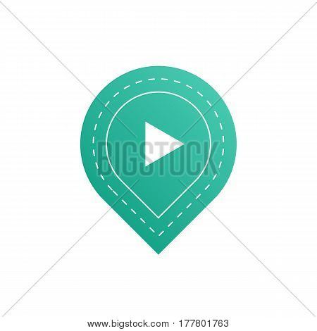 UI interface button play media internet isolated website online concept element sign and online tube player approved mark click blue icon vector illustration. Accept success vote checkmark.