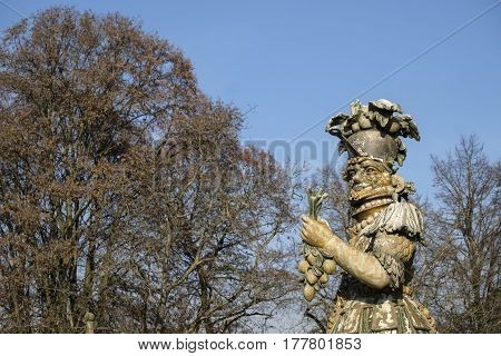 MONZA, ITALY - NOVEMBER 27, 2016: Monza (Brianza Lombardy Italy): Villa Mirabello into the park: big statue made with food by Dante Ferretti in the Arcimboldo style