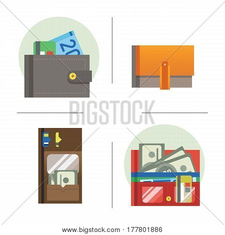 Flat money wallet icon making purchase cash business currency finance payment and purse savings bank commerce dollar economy vector illustration. Success shopping symbol.