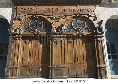 BURGOS, SPAIN - JULY 28, 2016: Burgos (Castilla y Leon Spain): exterior of historic palace along the Paseo Espolon
