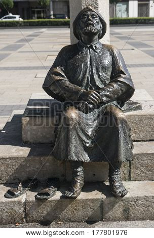 LEON, SPAIN - JULY 26, 2016: Leon (Castilla y Leon Spain): statue representing the pilgrim of Santiago in the square of San Marcos palace