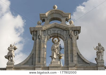 Madrid (Spain): the historic cathedral Santa Maria la Real de la Almudena facade detail