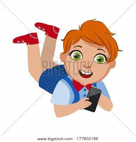 Boy Laying On The Belly With Smartphone, Part Of Kids And Modern Gadgets Series Of Vector Illustrations. Smiling Kid Addicted To Electronic Devices, Active Internet Technologies User.