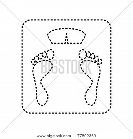 Bathroom scale sign. Vector. Black dashed icon on white background. Isolated.