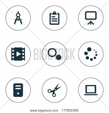 Vector Illustration Set Of Simple Web Icons. Elements Loading, Schedule, Cut And Other Synonyms Board, Scissors And Compass.