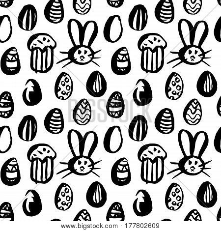 Grunge Brush Easter Seamless Pattern. Vector Illustration of Holiday Tileable Background.