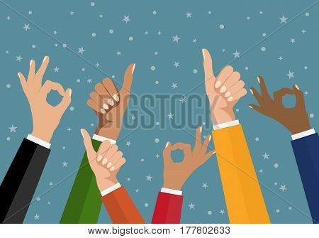 Cheering business people holding many thumbs. Like this. Flat design multicultural group thumbs up. Super. OK