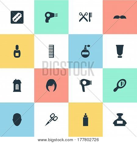 Vector Illustration Set Of Simple Hairdresser Icons. Elements Shaver, Scent, Beard And Other Synonyms Container, Head And Flask.