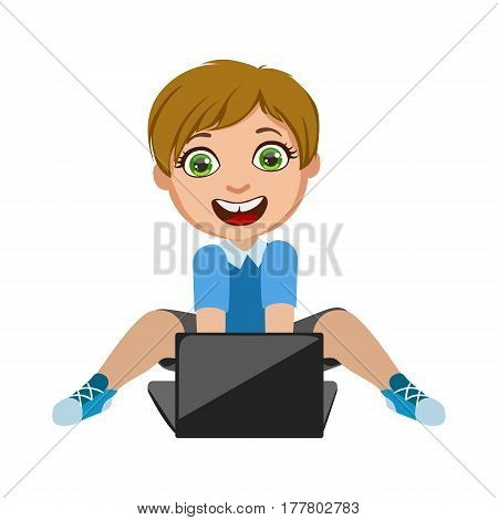 Boy Playing Video Games On Lap Top, Part Of Kids And Modern Gadgets Series Of Vector Illustrations. Smiling Kid Addicted To Electronic Devices, Active Internet Technologies User.