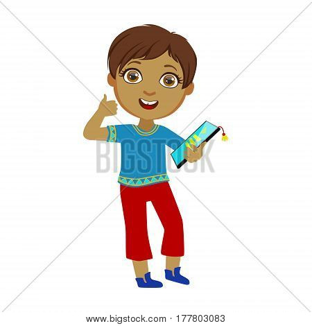 Boy Holding Tablet And Showing Thumbs Up, Part Of Kids And Modern Gadgets Series Of Vector Illustrations. Smiling Kid Addicted To Electronic Devices, Active Internet Technologies User.