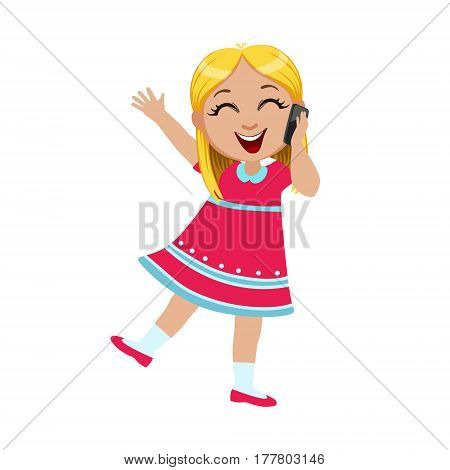 Girl Laughing Talking On The Smartphone, Part Of Kids And Modern Gadgets Series Of Vector Illustrations. Smiling Kid Addicted To Electronic Devices, Active Internet Technologies User.