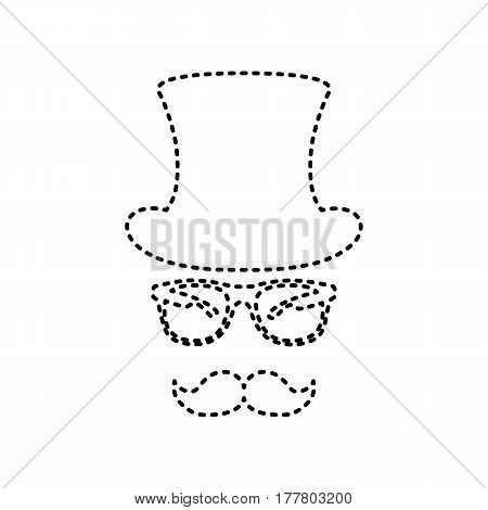 Hipster accessories design. Vector. Black dashed icon on white background. Isolated.
