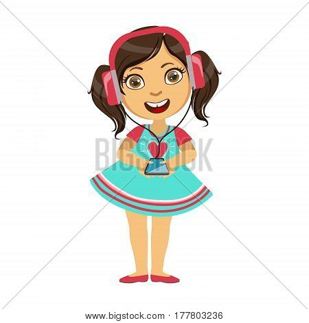 Girl listening To Music From Smartphone Through Headphones, Part Of Kids And Modern Gadgets Series Of Vector Illustrations. Smiling Kid Addicted To Electronic Devices, Active Internet Technologies User.