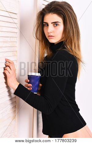 Pretty Cute Sexy Girl Posing In Black Bodysuit With Cup