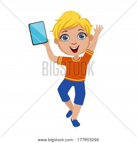 Boy Dancing Holding Tablet, Part Of Kids And Modern Gadgets Series Of Vector Illustrations. Smiling Kid Addicted To Electronic Devices, Active Internet Technologies User.
