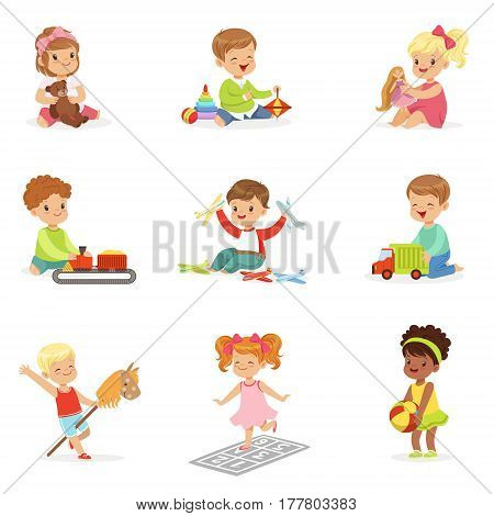 Cute Children Playing With Different Toys And Games Having Fun On Their Own Enjoying Childhood. Young Kids And Infants Game Time Vector Illustrations Set With Adorable Baby Characters.