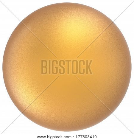 Yellow sphere round button ball basic matted golden circle geometric shape. 3D render illustration isolated