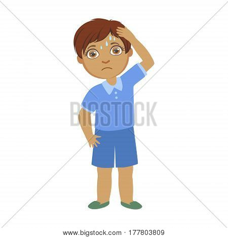 Boy With A Headache, Sick Kid Feeling Unwell Because Of The Sickness, Part Of Children And Health Problems Series Of Illustrations. Young Teenager Ill Cute Cartoon Character With Illness Symptoms.