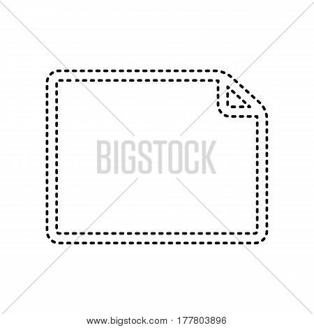 Horisontal document sign illustration. Vector. Black dashed icon on white background. Isolated.