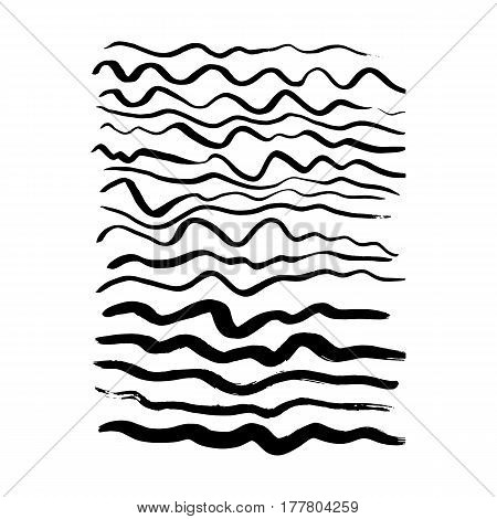 Hand Drawn Wave Brush Strokes. Vector Illustration of Paint Stain.