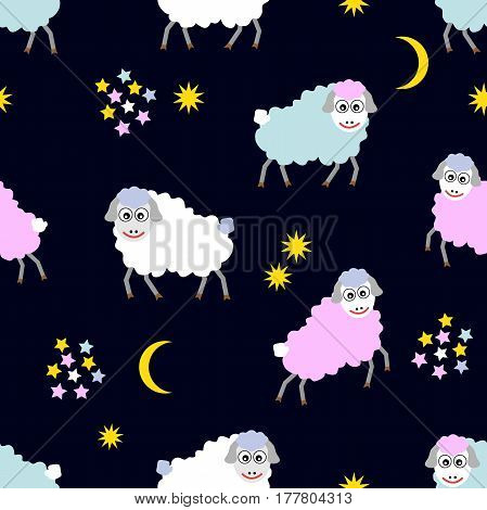 Seamless vector pattern with ships in the sky. Children textile collection.