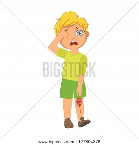 Boy With Bleeding Scratched Knee, Sick Kid Feeling Unwell Because Of The Sickness, Part Of Children And Health Problems Series Of Illustrations. Young Teenager Ill Cute Cartoon Character With Illness Symptoms.