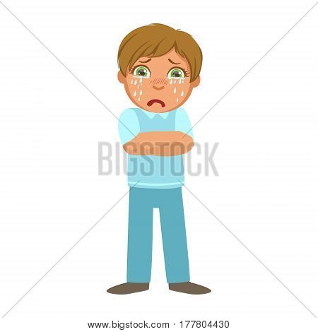 Boy Shivering With Fever, Sick Kid Feeling Unwell Because Of The Sickness, Part Of Children And Health Problems Series Of Illustrations. Young Teenager Ill Cute Cartoon Character With Illness Symptoms.