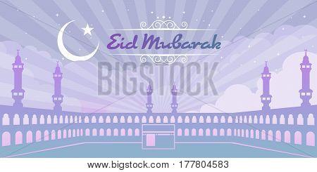 Masjidil Haram in Makkah Saudi Arabia of Eid Mubarak (Happy Eid) vector design