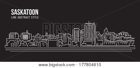 Cityscape Building Line art Vector Illustration design - Saskatoon city