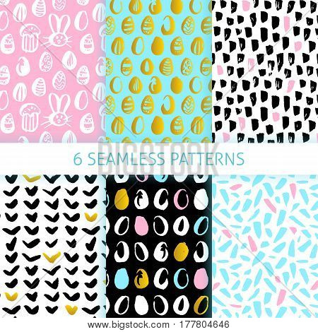 Happy Easter Funky Seamless Patterns. Vector Illustration of Spring Holiday Tile Background.
