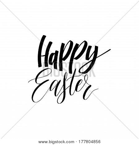 Vector Happy Easter calligraphy on white background. Religious holiday hand lettering for greeting card, poster, flyer etc.
