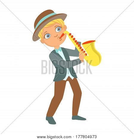 Boy Playing Jazz On Saxophone, Kid Performing On Stage, School Showcase Participant With Musical Artistic Talent . Part Of Talented Children And Music Series Of Vector Cartoon Illustrations.