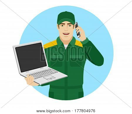 Worker holding laptop notebook and talking on the mobile phone. Portrait of Delivery man or Worker in a flat style. Vector illustration.