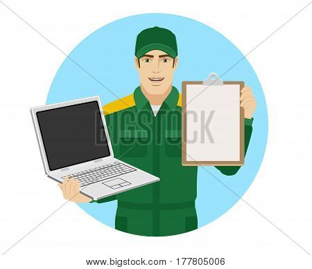 Worker holding laptop notebook and clipboard. Portrait of Delivery man or Worker in a flat style. Vector illustration.